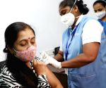 An elderly citizen being administered the COVID-19 vaccine, during the second phase of countrywide inoculation drive, at a private hospital, in Bengaluru on Monday 1st March, 2021