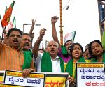 BJP protests Karnataka government's 'betrayal' of farmers