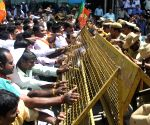 BJYM demonstration against hike in bus fare