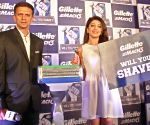 Rahul Dravid and Pranitha Subhash during a programme
