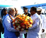 PM Modi's arrival at Yelahanka Air-force Station