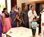 M.B. Patil meets Karnataka tourists who were stranded in Nepal