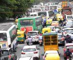 Bengaluru : Traffic jam at Seshadri Road, after the Karnataka government eased restrictions for travel amid ongoing Coronavirus lockdown, in Bengaluru.