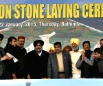 Nitin Gadkari and Sukhbir Singh Badal and others during the foundation stone laying programme of various projects