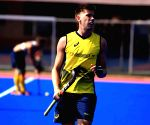 Australian Hockey team during a practice session at Kalinga Stadium