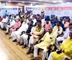 Bihar BJP Leaders and Minister listening MANN KI BAAT programme by Prime Minister Narendra Modi at Party office