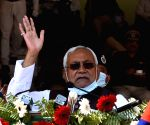 Bihar Chief Minister Nitish Kumar addresses during a 'Police Week' celebration