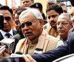 Nitish Kumar talks to press