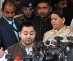 Tejashwi Yadav talks to press