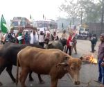 Trade union strike hits Bihar, workers block roads with buffaloes (Ld)