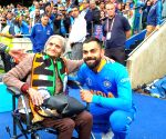 Kohli, Rohit greet 87-year-old fan at Edgbaston stands