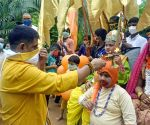 BJP activists worship Lord Ram on the 'Bhumi Pujan' day of Ram Temple in Ayodhya