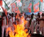 BJP activists protesting against the killing of Indian Army jawans in Hyderabad