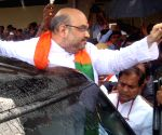Amit Shah arrives at Shamshabad Airport