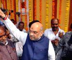 Amit Shah visits Lal Darwaza Mahankali Temple