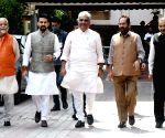 BJP Delegation comprising Bhupender Yadav, MA Naqvi, Anurag Thakur and Om Pathak meets Election Commission of India at Nirvachan Sadan in New Delhi