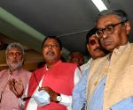 BJP delegation team led by National Vice-President Mukul Roy comes out from the Central election commission office after a meeting with West Bengal Chief Electoral Officer Arif Aftab in Kolkata on Tuesday 02nd March, 2021.
