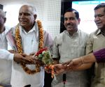 Yeddyurappa felicitated during a party programme