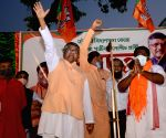 BJP leader and Union cabinet Minister IT, Law and Justice Ravi Shankar Prasad at public meeting along with BJP Candidate, of Chowringhee Constituency, Debdutta Majhi in Kolkata