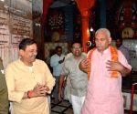 Manoj Sinha praying at a temple