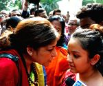 Roopa Ganguly during a protest against Kolkata child sexual assault case