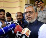Sushil Kumar Modi talks to press