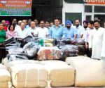 BJP leaders dispatching relief materials for the flood victims of J&K