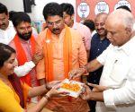 BJP sweeping Lok Sabha elections; R. Asoka, B. S. Yeddyurappa celebrate
