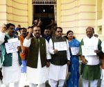 BJP legislators demonstrate against Bihar Minister