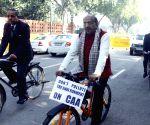 Vijay Goel rides a cycle to Parliament