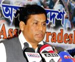 Sarbananda Sonowal addresses a press conference regarding 'Statue of Unity' rally
