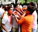 BJP sweeping 2019 Lok Sabha elections, party supporters celebrate