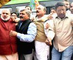 BJP's demonstration against Congress leaders Gulam Nabi Azad, Pramod Tiwari
