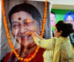 BJP workers pay tribute to Sushma Swaraj