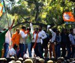 BJP workers demonstrate against Satyendra Jain