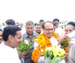 BJP workers welcoming Shivraj Singh Chouhan