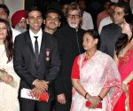 Bollywood actress Aishwarya Rai Bachchan,actor Akshaya Kumar with Abhishek Bachchan, Amitabh Bachchan,Jaya Bachchan and Twinkle Khanna after receiving Padma Shri award at Rashtrapati Bhawan in New Delhi on Tuesday.