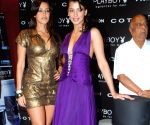 Bollywood actress Neha Dhupia and Mugdha Godse at the launch of Perfume PlayBoy.