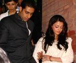 Bollywood star Abhishek  Bachchan and Ashawarya Rai Bachchan at IHC, in New Delhi on Tuesday.