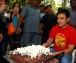 Bollywood superstar Aamir khan at his 44th birthday celeberations.
