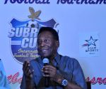 Pele during a press conference