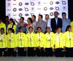 Bronze winning Indian Women's Junior Hockey team players pose for a group