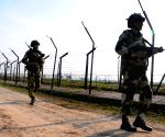 BSF personnel patrol along Indo-Pak border