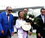 ROMANIA BUCHAREST TENNIS HALEP ARRIVAL