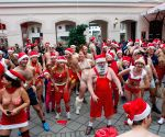 "People participate in a half-naked ""Santa run"" in Budapest"