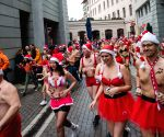 "Budapest (Hungary): Half naked runners attend the 11th ""Santa Speedo Run"" for charity"