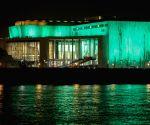 HUNGARY BUDAPEST ST. PATRICK'S DAY GREEN LIGHT CELEBRATION