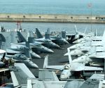 Fighter jets seen on flight deck of US nuclear powered aircraft carrier USS George Washington at a naval port in Busan, South Korea