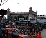 Charminar completely sealed during the visit of Union Home Minister Amit Shah at Bhagyalakshmi temple