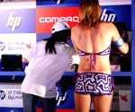 """Cheer Girl at the launch of HP's New Notebooks """"HP Super 6"""" in New Delhi on Thursday 18 June 2009."""
